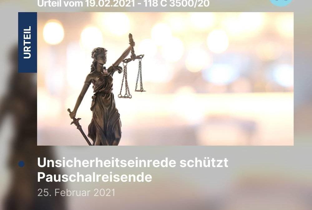 Unsicherheitseinrede schützt Pauschalreisende – Urteil