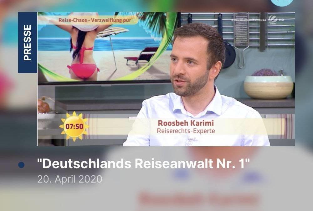 """""""Deutschlands Reiseanwalt Nr. 1"""" – RA Karimi zu Reisestornierung im Sat1 Frühstücksfernsehen"""